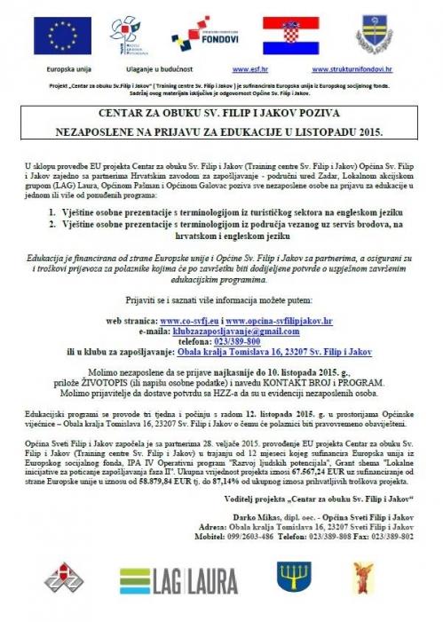 Poziv za edukacije u listopadu 2015.