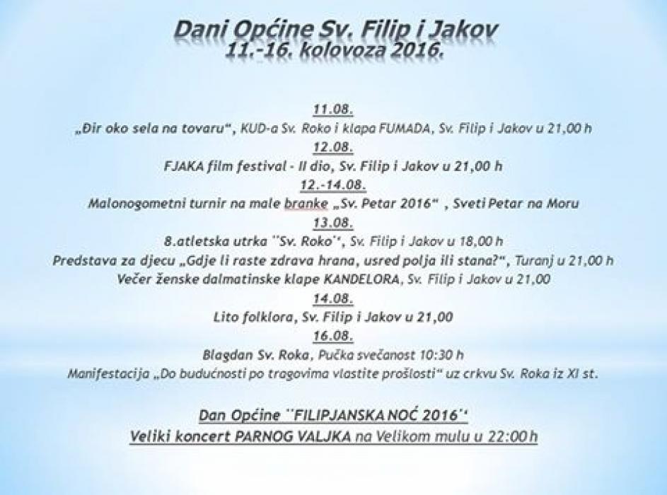Dani Općine Sveti Filip i Jakov 11.-16. kolovoza 2016.