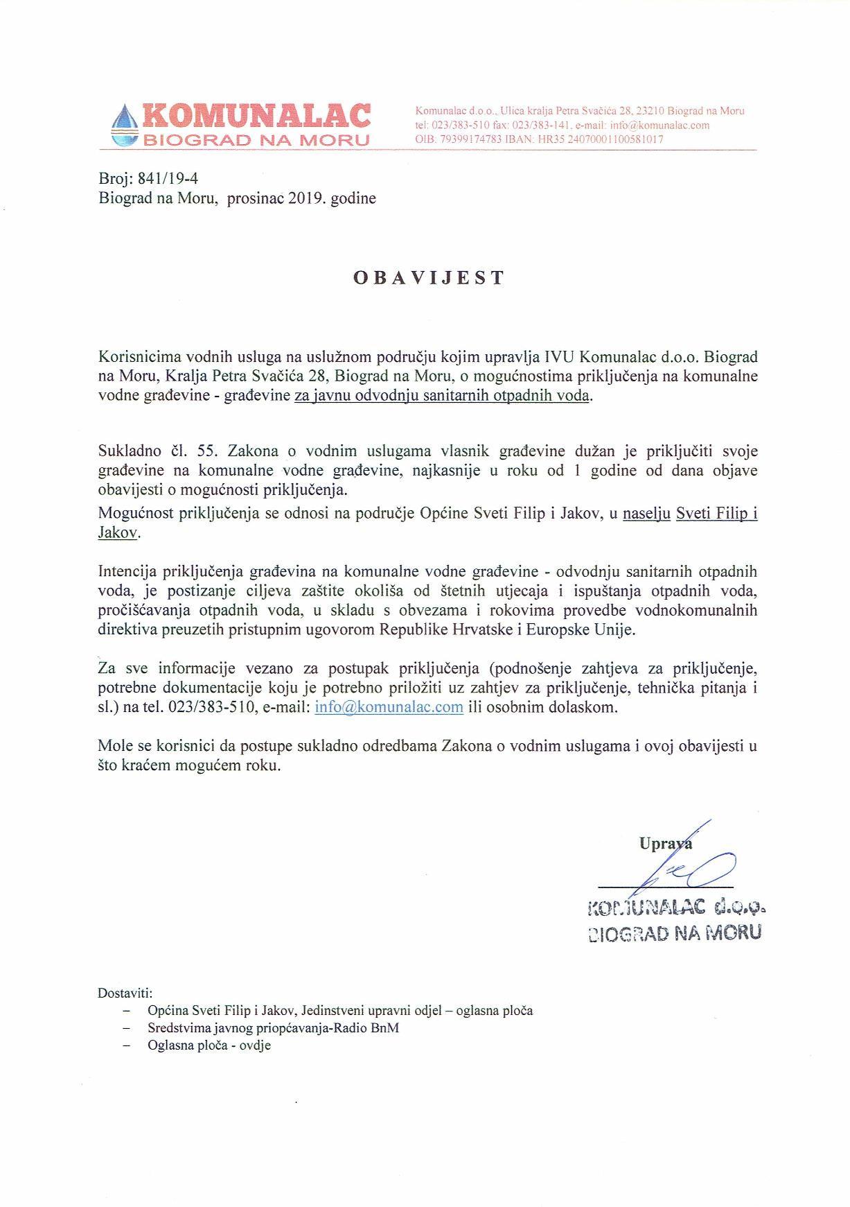 OBAVIJEST - mogućnosti priključenja naselja Sv. Filip i Jakov na komunalne vodne građevine