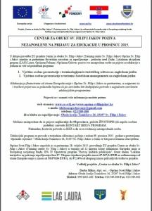 Poziv na EDUKACIJE U PROSINCU 2015.