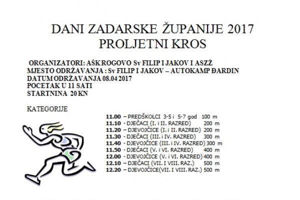 Dani Zadarske županije 2017. - PROLJETNI KROS